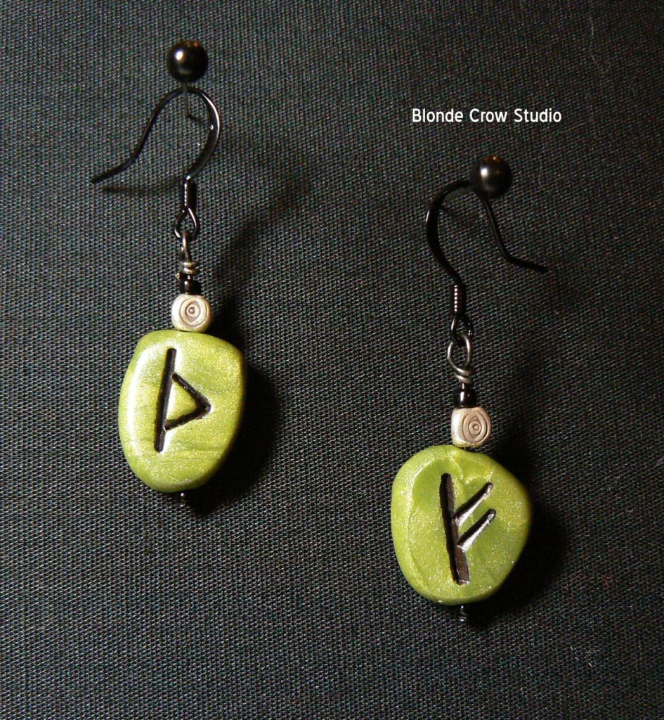 Green rune stone earrings