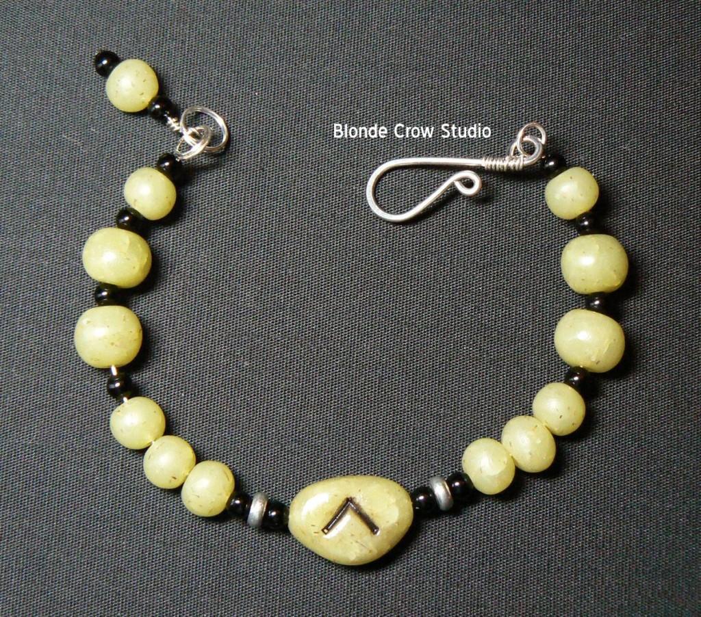 green rune stone bracelet