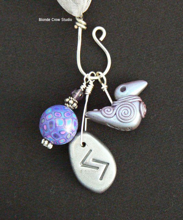 MJB Antiqued silver rune pendant