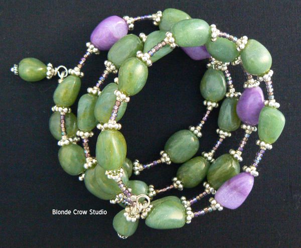 MJB faux jade and amethyst beads