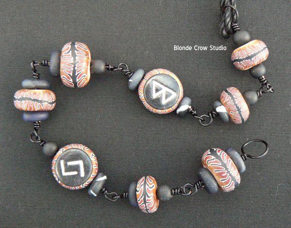 MJB tiger cane rune beads